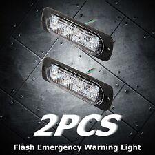 2 PCS Super Bright Amber 4-LED Car Flash Emergency Hazard Warning Strobe Light