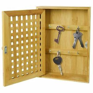 Bamboo Wall Mounted Key Box Organiser Storage Cabinet Hooks Keys Holder Cupboard