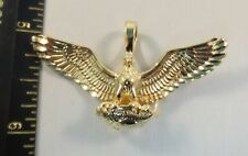 14KT GOLD EP PERCHED EAGLE DIAMOND CUT CHARM - 2014