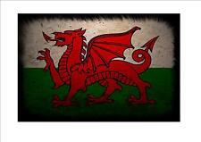 Galles Gallese Bandiera invecchiato Metallo Segno Stile Vintage Bandiera Gallese Segno