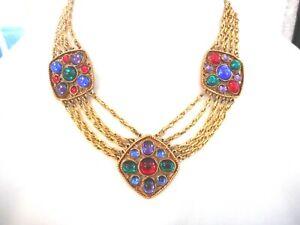 Vtg Maltese Cross Necklace Gold Tone Multi-strand Cab Set Glass Jewels Statemt