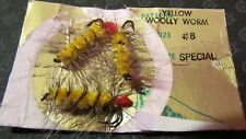 Vintage Hank Roberts Yellow Woolly Worm Fly Fishing Trout Lure - 3Pk, Size #8