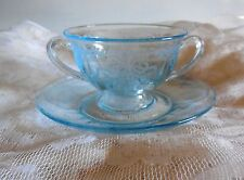 Fostoria JUNE BLUE ETCHED Bouillon Cup& Saucer EXCELLENT CONDITION FREE SHIP USA