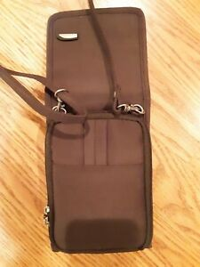TRAVELON Crossbody Travel Purse Brown Nylon Zip Compartments