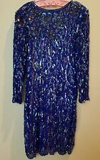 Vintage Blue Silk Sequin Evening Cocktail Ling Sleeve Dress XL 12-14