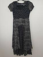 Ladies DECISIONS Shift Maxi Dress Size 14 Black Striped Zip Short Sleeve Elegant