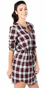 Soft Joie Cassina Shirt Dress Size S Roll Sleeve Drawstring Garnet EUC $188 B63