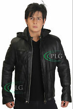 Mens Hooded Motorcycle Biker Rider Leather Jacket Hoody