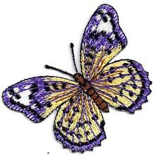 BUTTERFLY- Purple w/Yellow, Black & White Iron On Embroidered Applique Patch