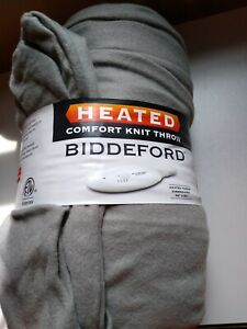 "Biddeford Blankets Comfort Knit Fleece Heated Electric Throw Blanket, 62"" x 50"","
