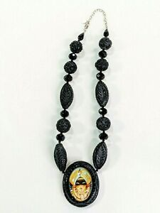 Hotcakes Design Handmade Resin Bead Black Onyx Necklace with Mysterious Woman