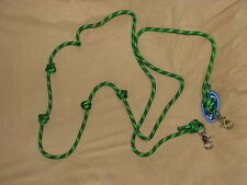 """8' Knotted Rope Barrel Rein 3/4"""" Round with Trigger Snaps - GREEN & BLACK"""