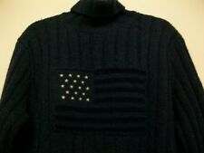 RALPH LAUREN Wool Hand Knit Roll Neck Jumper XL 90s Vintage USA Flag Retro