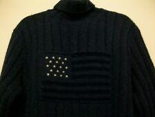 RALPH LAUREN Wool Hand Knit col roulé Pull XL 90 S vintage USA drapeau rétro