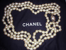 "VINTAGE CHANEL BAROQUE PEARL 64"" OPERA NECKLACE - CA 1981"
