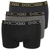 HOM Boxerlines 3-Pack Basic Men's Boxer Trunks, Black/Navy/Grey