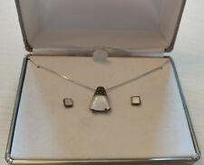 .925 Sterling Mother of Pearl Necklace and Earrings Set