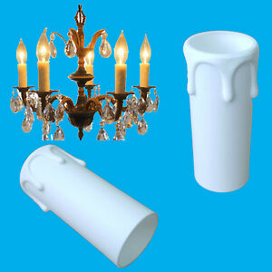 4x White Drip Candle Sleeve Wax Effect Chandelier Light Bulb Cover 55mm x 27mm