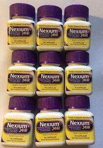 Lot Of 9 Nexium 24HR  14 Capsules Per Bottle 08/2021