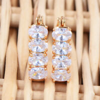 Sparkly Women Clear Oval CZ 18K Gold Plated Hoop Huggie Earrings Jewelry Wedding