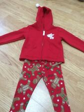 Size 12-18 Months Girls Gingerbread Leggings & Red Reindeer Jacket - New
