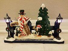 Vintage Cracker Barrel Christmas Scene with Blinking Lights