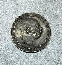 OSTERREICH / AUTRICHE 1 CORONA FRANÇOIS JOSEPH 1er 1916 VIENNE en ARGENT.