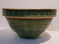 Antique  McCoy Pottery Green Window Pane Stoneware Bowl #4 Shield Mark 9
