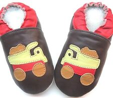 soft sole leather baby boy first walking shoes track brown 12-18 m Minishoezoo