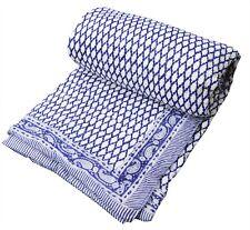 Indian Handmade Cotton Twin Reversible Winter Razai Quilt Throw Ethnic Blanket