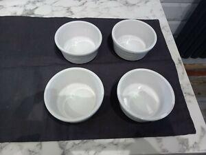 Pie Dishes Individual or Large Ramekin Dishes - White Ceramic x 4