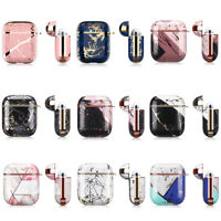 For Airpods 1st/2nd Gen Case Charge Marble Print Keychain Shockproof Protective