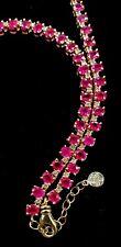 EFFY 14KT Ruby & Diamond Tennis Chain Necklace 19+ TCW Yellow Gold