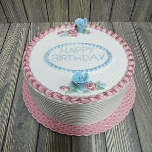 🎂Rare Ceramic Floral 🎈HAPPY BIRTHDAY🎈Covered Cake  Plate