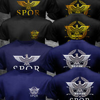 New SPQR Roman Rome Senate Military Faction Eagle Logo T-shirt