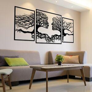 001 Amazing Modern Tree Of Life Faces 3 panels Black Acrylic Wall Art Decor