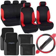 Racing Car Seat Cover + TRIBAL Floor Mats + Steering Wheel Cover - Red & Black