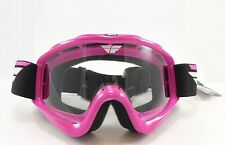 Fly Racing Focus Goggles Pink Clear Lens Adult Womens MX Offroad ATV