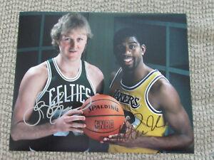 Larry Bird Boston Celtics  & Magic Johnson Lakers 8x10 Photo Signed