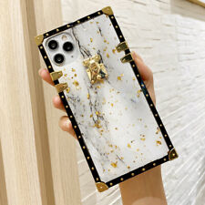 Epoxy Marble Pattern Metal Square Case Cover for iPhone 11 Pro XS Max XR 7 8 6