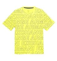 ARMANI EXCHANGE A/X Mens ALL OVER Block Printed LOGO Crew T Shirt NEON Yellow