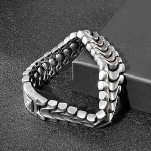 Punk Men's Biker Casting Link Chain Bracelet Stainless Steel Bangle 16mm 8.66''