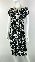 Max Mara New 6 US 42 IT M Black White Stretch Floral Dress Ruched Runway Auth