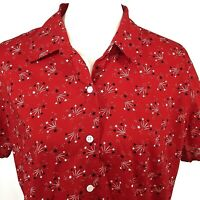 Liz Claiborne Fourth of July Button Front Shirt Large Red Blue White Stars SS