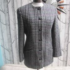 St Michael Marks and Spencer M&S Vintage 100% Wool Collarless Tweed Coat UK 12