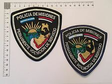 2 ORIGINAL POLICE MISIONES SUBOFFICER PATCHES COLLECTION PATCH ARGENTINA 80s 90s
