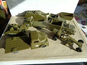 VINTAGE Marx & BONNIE BILT, PLASTIC US ARMY MILITARY TANK W/POP UP & trucks