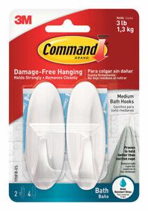 3M Command  Medium  Designer Bath  Hook  3-1/8in L Plastic  3 lb. per Hook  2 pk