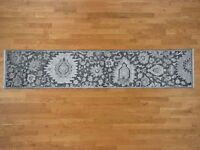 """2'6""""x11'10"""" HandKnotted Oushak Silk with Oxidized Wool Runner Rug G41081"""