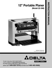 """Delta 22-540 12"""" Portable Planer Instruction Manual Printed or PDF FREE SHIPPING"""